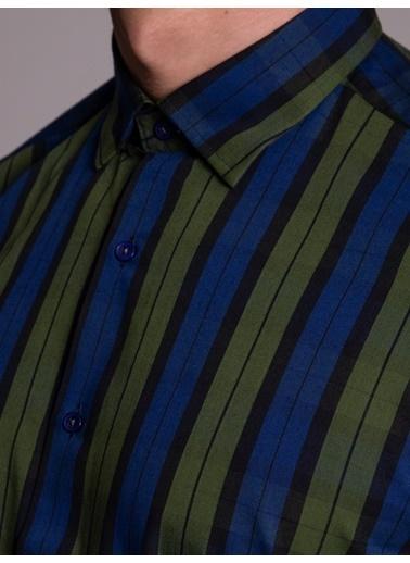 Dufy Kırmızı Lacıvert Karelı Pamuklu Erkek Gömlek - Slım Fıt Yeşil